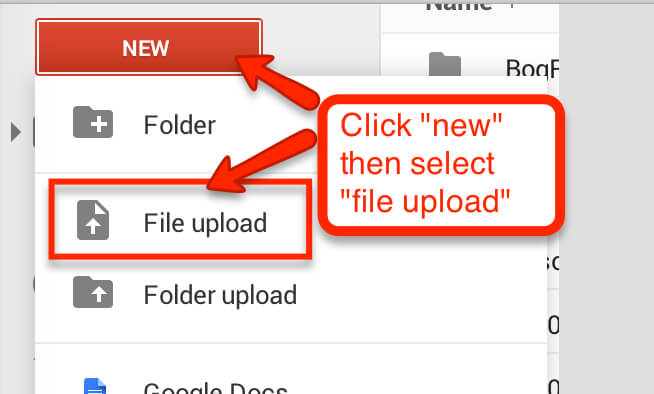 click on new then file upload to upload new files