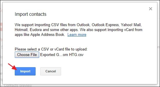 import the contacts file