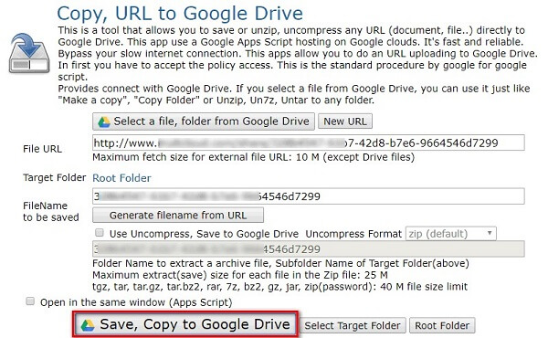Upload URL to Google Drive