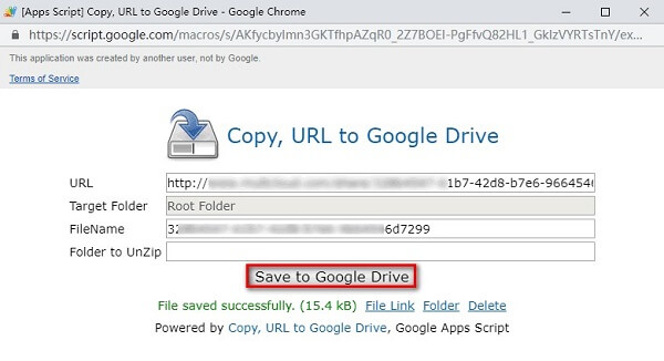 Save URL to Google Drive