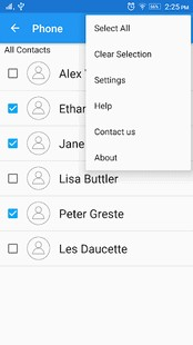 select the contacts you want to transfer