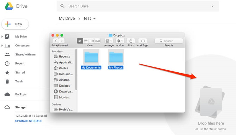 drag and drop the files to google drive