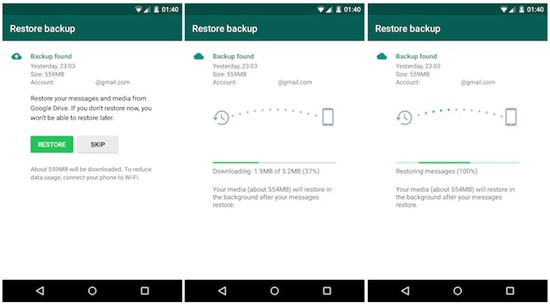 restore whatsapp from google drive to android