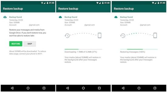 Stellen Sie WhatsApp von Google Drive auf einem Android wieder her