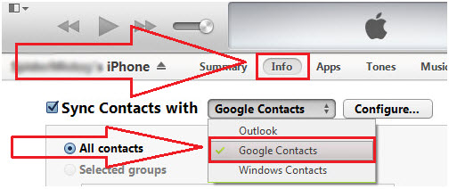 Transfer iPhone Contacts to Gmail Using iTunes