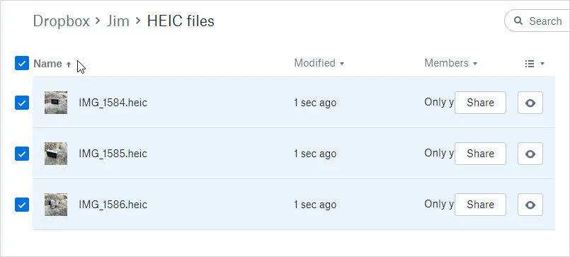 从Dropbox下载heic照片