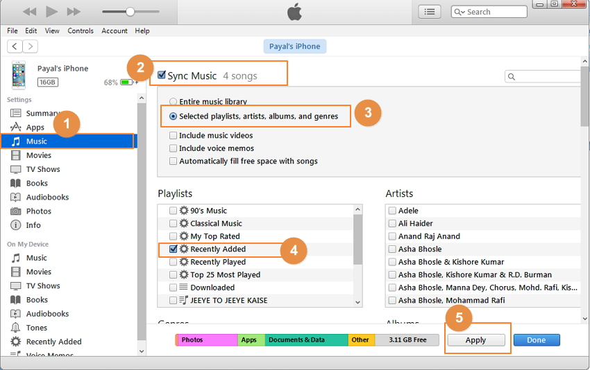 Transfer Music from iPhone to iPhone Using iTunes-step 3.2