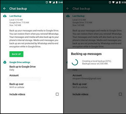 transfer whatsapp chats to new phone using google drive