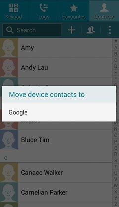 salvaguardar contatos do samsung com uma conta do gmail