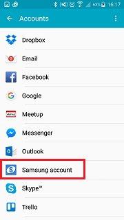 salvaguardar dados do celular com a conta samsung
