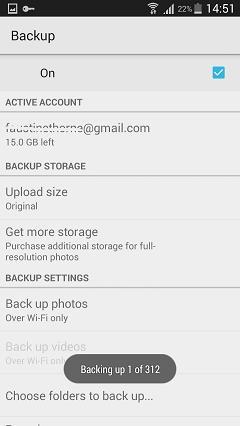 salvaguardar fotos automaticamente no android para o google