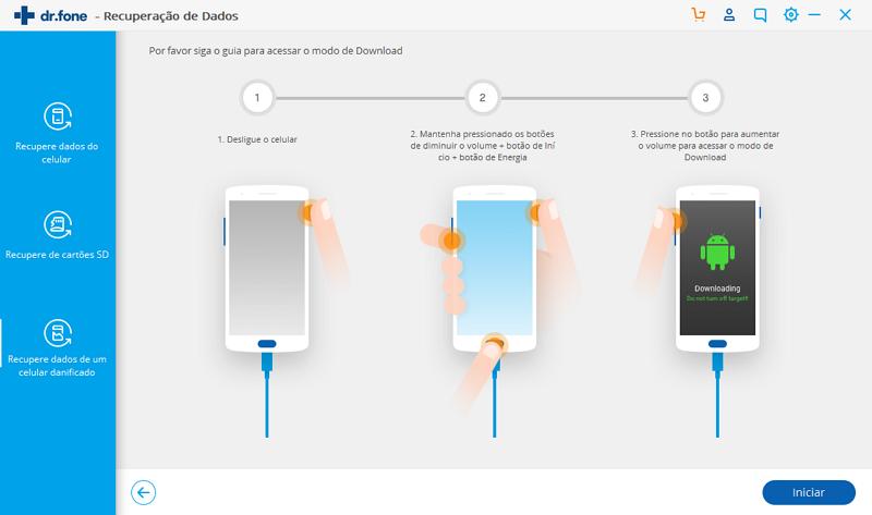 defina o modo de download no telefone android quebrado