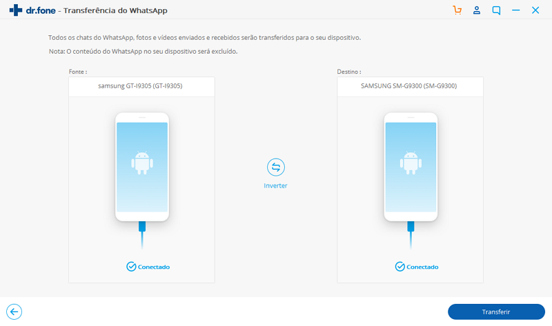 transferir mensagens do whatsapp com o dr.fone