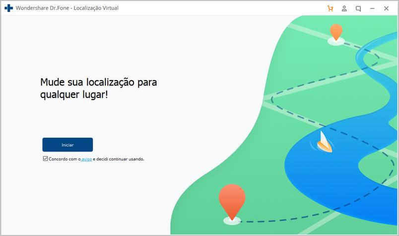 inicie a simulação de localização