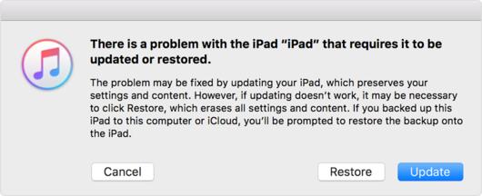 como reativar o ipad apos atualizar o ios 9.3