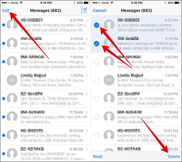 como excluir permanentemente mensagens de texto iphone