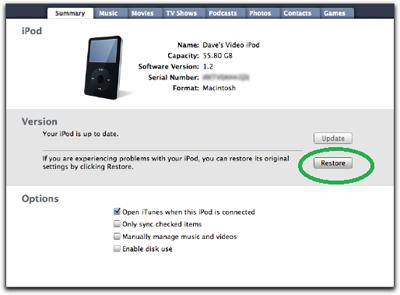 como apagar dados de um ipod classic