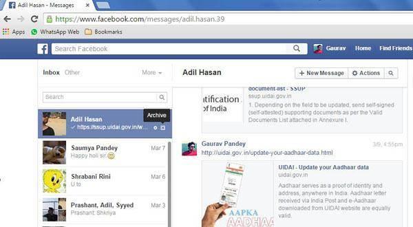 como arquivar mensagens do facebook de Duas formas