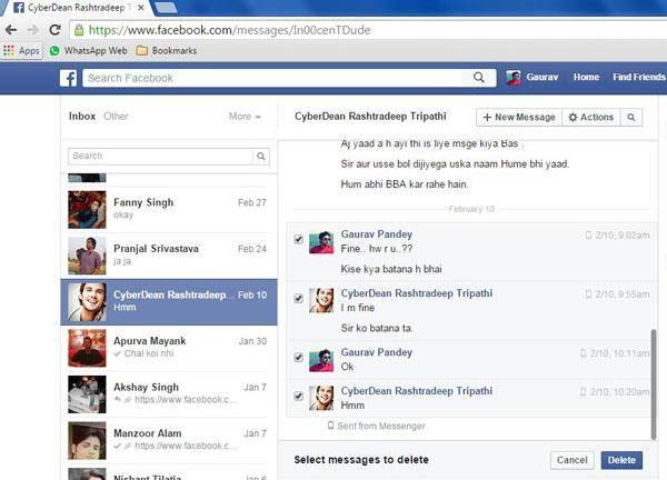 como eliminar mensagens do facebook