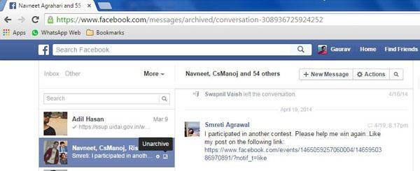 como recuperar as mensagens de facebook arquivadas