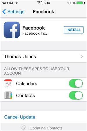 sincronizar os contactos do facebook com o iphone utilizando as definicoes