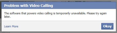 esta a receber uma mensagem de erro de que o software que suporta as videochamadas esta temporariamente indisponivel