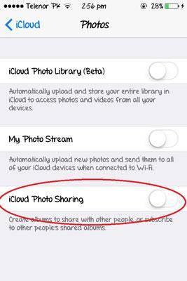 como configurar o compartilhamento de foto do icloud