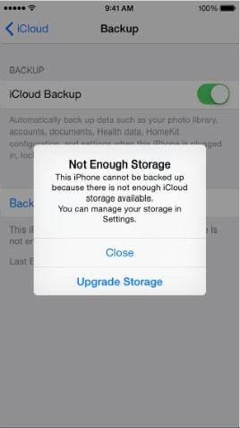 iphone nao pode fazer backup para o icloud