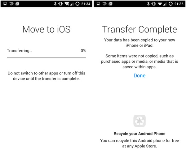 transferencia mover iphone android com ios 7