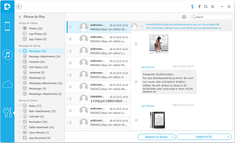 seletivamente suportar mensagens de texto a partir de um iphone a um pc ou mac