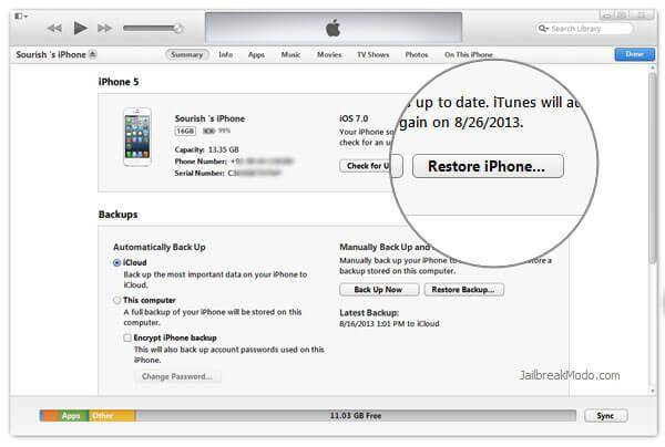 use o itunes para restaurar o seu iphone as configuracoes de fabrica