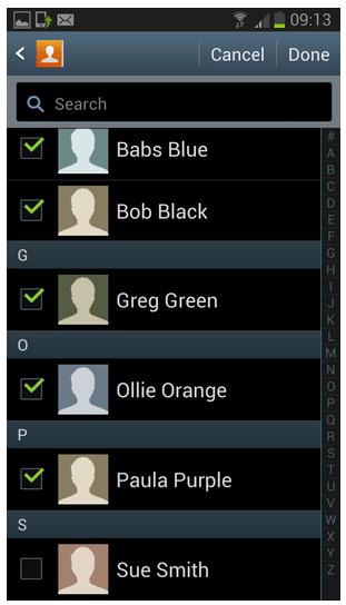 mensagem em grupo no android