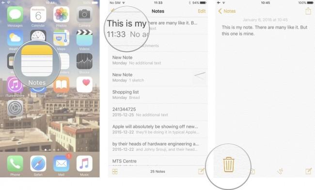 como remover notas duplicadas no iphone