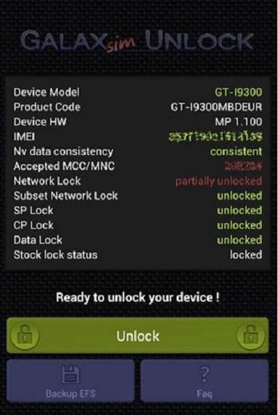 desbloquear o sim usando o galaxsim unlock