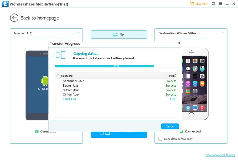 transferir contatos usando o wondershare mobiletrans