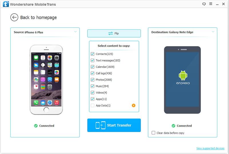 transferir dados do iphone para samsung com o mobiletrans com 1 clique