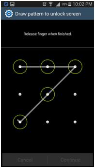 definir um pin ou um padrao para a notificacao de ecra de bloqueio