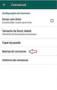 como fazer backup do whatsapp