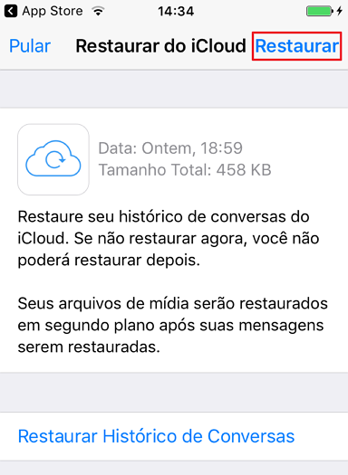 como restaurar o backup do whatsapp no iphone