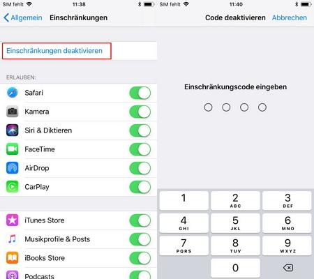 Einschränkungscode Iphone