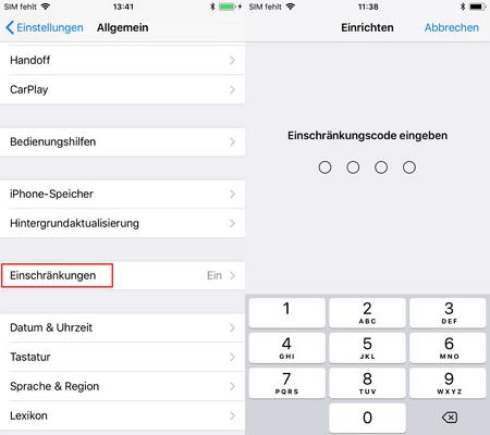 Einschränkungscode auf dem iPhone zurücksetzen