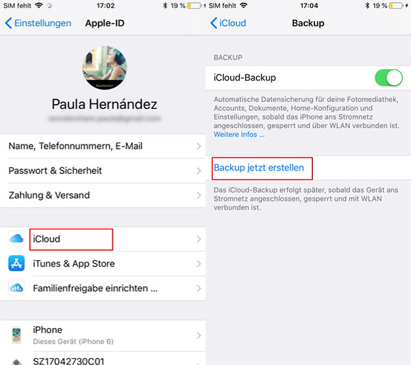 iPhone auf der iCloud sichern