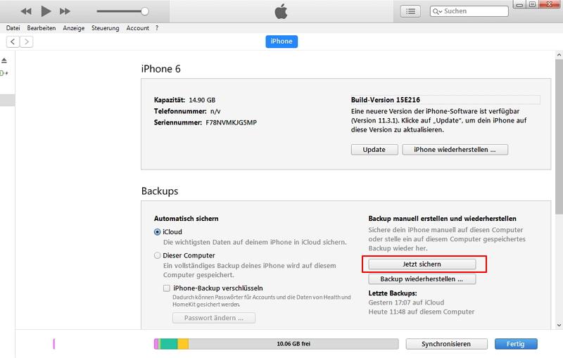Wiederherstellen von iPhone-Daten nach dem Zurücksetzen auf Werkseinstellungen