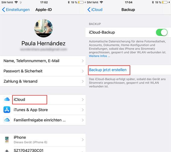 iPhone-Daten mithilfe von iCloud sichern