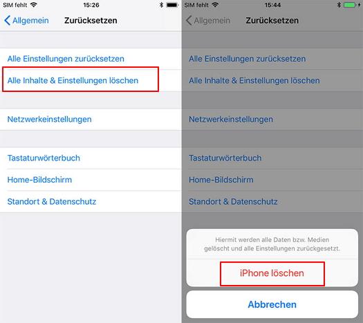 iPhone ohne Passcode auf Werkseinstellungen zurücksetzen