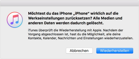 iPhone ohne Passwort über iTunes zurücksetzen