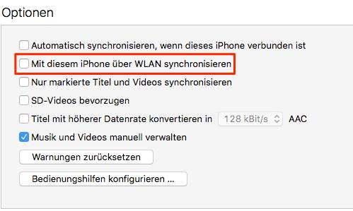 WLAN-Synchronisierung