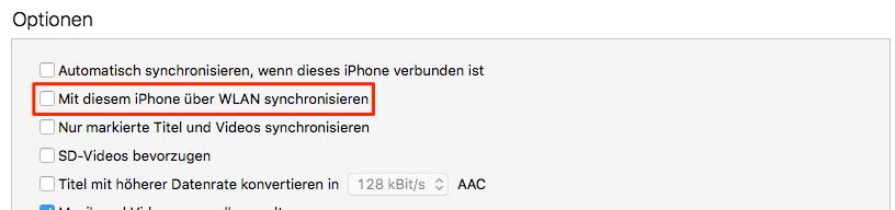 Wie man ein iPhone mit iTunes über W-LAN sichert/synchronisiert