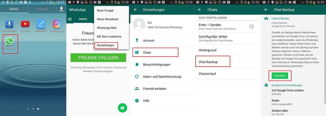 WhatsApp-Nachrichten übertragen