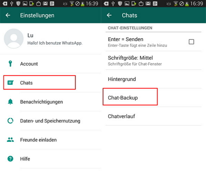 WhatsApp Backup in Google Drive erstellen